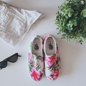 Floral VANS Hawaiian Slip On in White 6.5 size